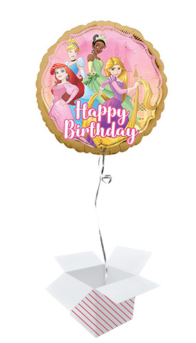 Disney Princesses Birthday Two-Sided Round Foil Helium Balloon - Inflated Balloon in a Box Product Image