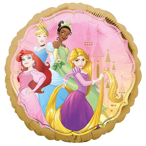 Disney Princesses Two-Sided Round Foil Helium Balloon 43cm / 17 in Product Gallery Image