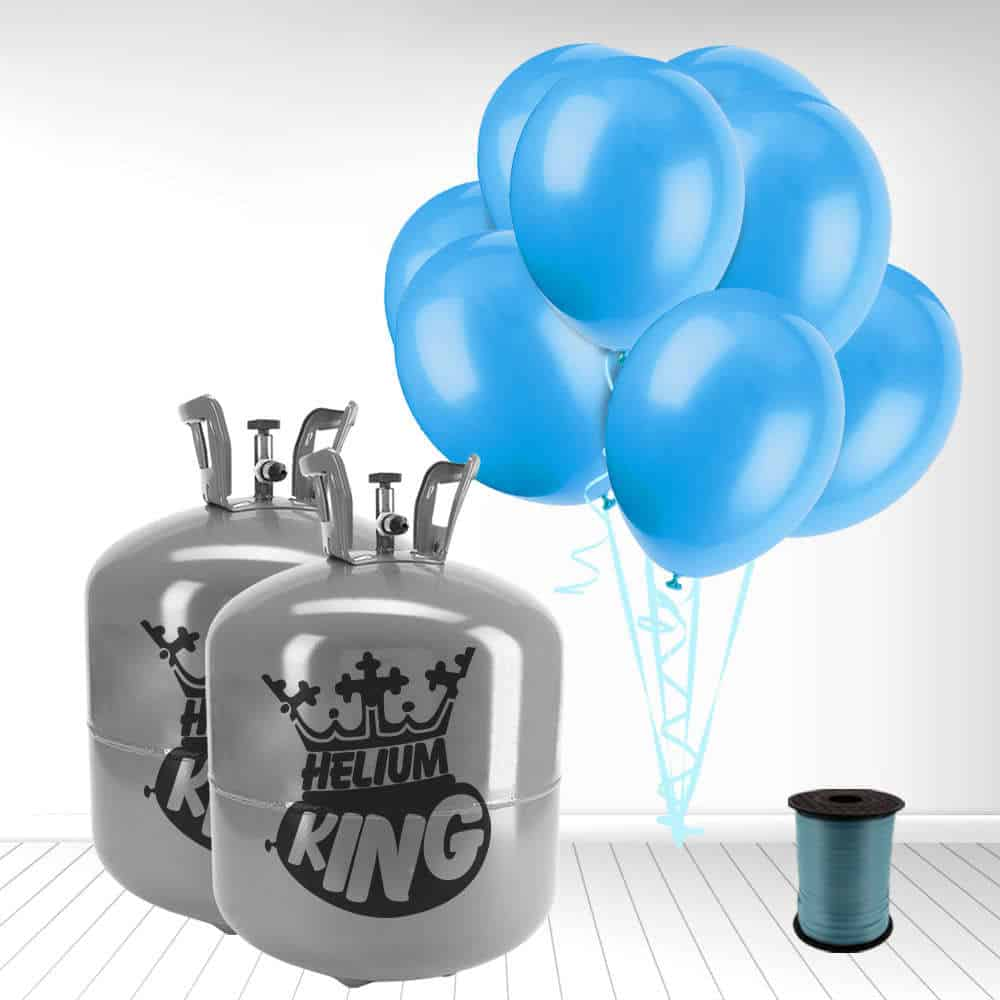 Disposable Helium Gas Cylinder with 100 Baby Blue Balloons and Curling Ribbon Product Image
