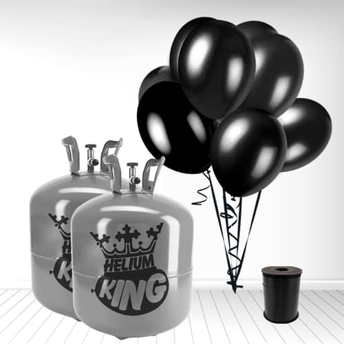 Disposable Helium Gas Cylinder with 100 Black Balloons and Curling Ribbon
