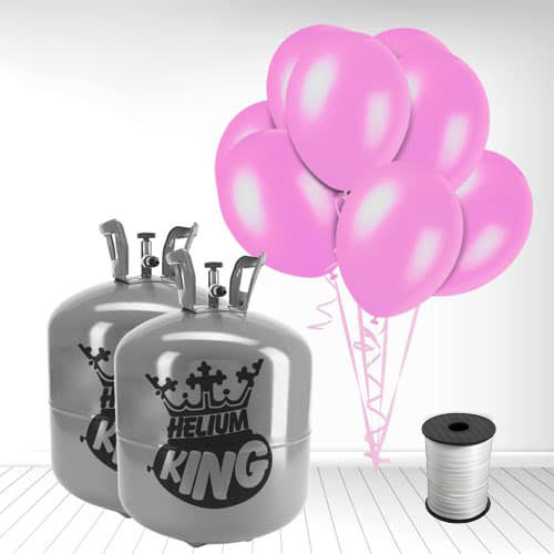 Disposable Helium Gas Cylinder with 100 Crystal Pink Balloons and Curling Ribbon Product Image