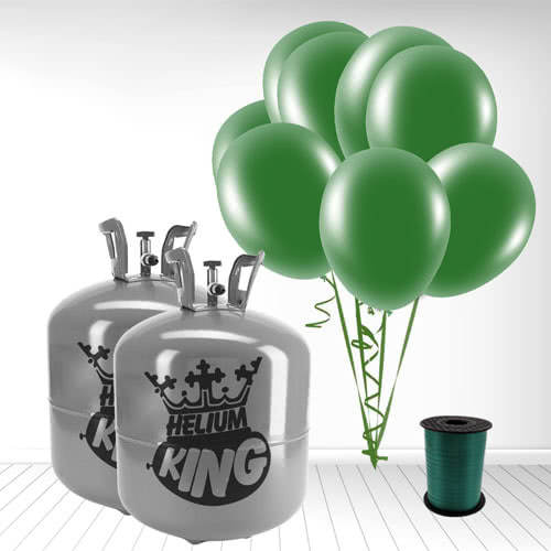 Disposable Helium Gas Cylinder with 100 Forest Green Balloons and Curling Ribbon Product Image