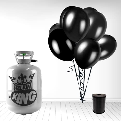 Disposable Helium Gas Cylinder with 30 Black Balloons and Curling Ribbon