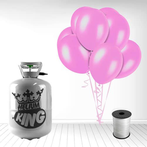 Disposable Helium Gas Cylinder with 30 Crystal Pink Balloons and Curling Ribbon Product Image