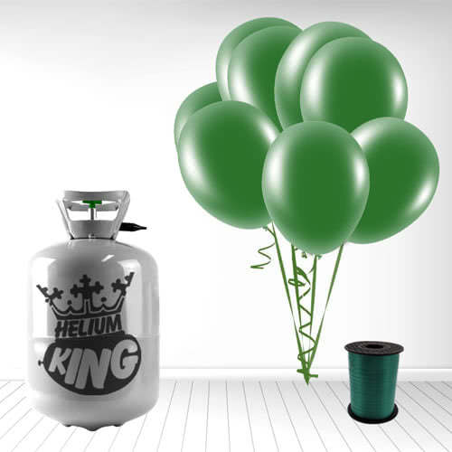 Disposable Helium Gas Cylinder with 30 Forest Green Balloons and Curling Ribbon Product Image