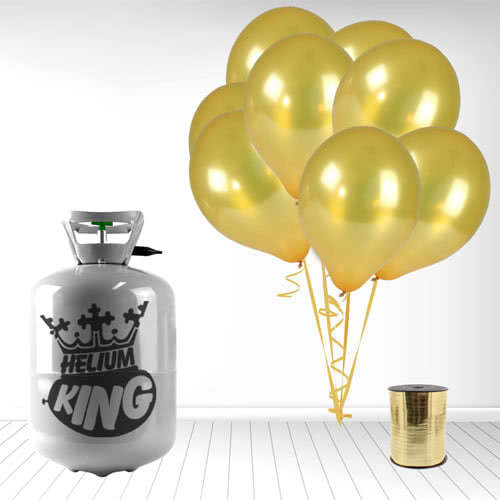 Disposable Helium Gas Cylinder with 30 Metallic Gold Balloons and Curling Ribbon Product Image