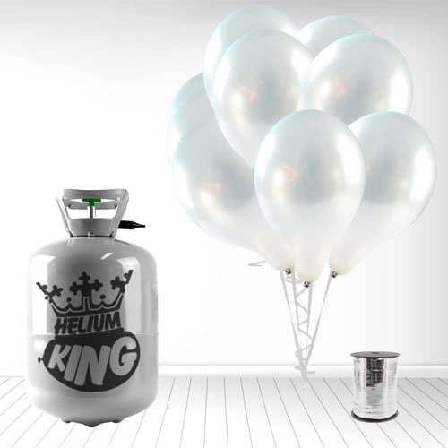 Disposable Helium Gas Cylinder with 30 Metallic Silver Balloons and Curling Ribbon Product Image
