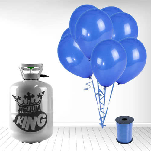 Disposable Helium Gas Cylinder with 30 Navy Blue Balloons and Curling Ribbon Product Image