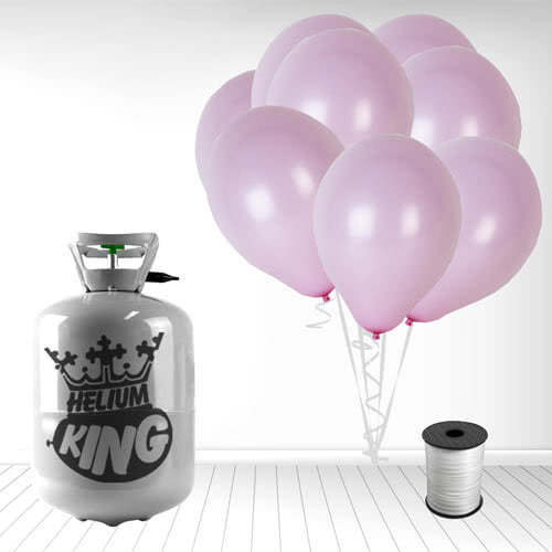 Disposable Helium Gas Cylinder with 30 Pastel Baby Pink Balloons and Curling Ribbon Product Image