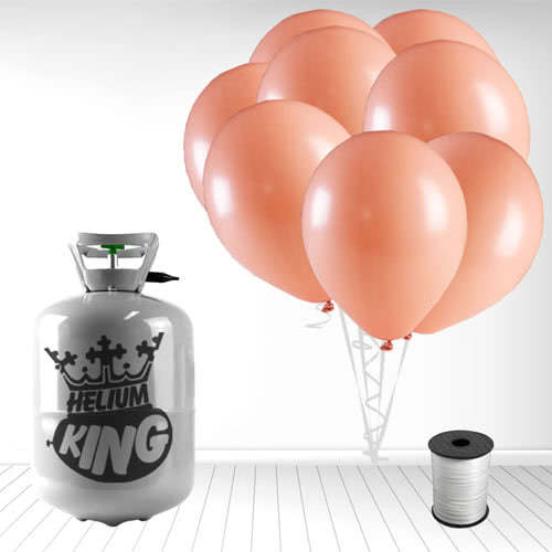 Disposable Helium Gas Cylinder with 30 Pastel Coral Peach Balloons and Curling Ribbon Product Image