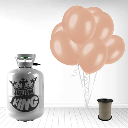 Disposable Helium Gas Cylinder with 30 Rose Gold Balloons and Curling Ribbon