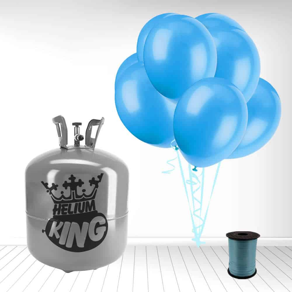 Disposable Helium Gas Cylinder with 50 Baby Blue Balloons and Curling Ribbon Product Image