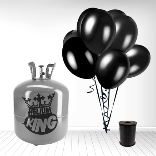 Disposable Helium Gas Cylinder with 50 Black Balloons and Curling Ribbon