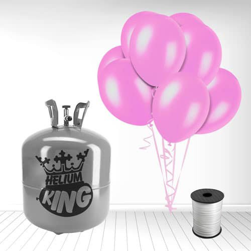 Disposable Helium Gas Cylinder with 50 Crystal Pink Balloons and Curling Ribbon Product Image