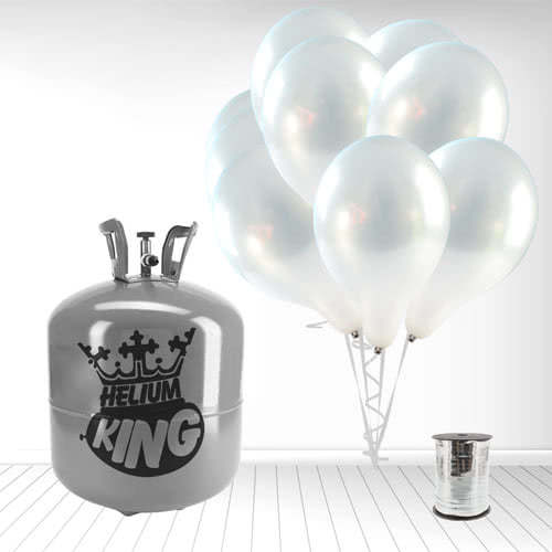 Disposable Helium Gas Cylinder with 50 Metallic Silver Balloons and Curling Ribbon Product Image