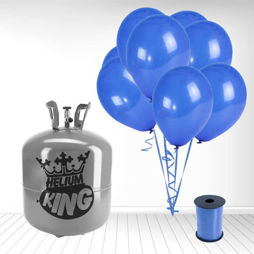 Disposable Helium Gas Cylinder with 50 Navy Blue Balloons and Curling Ribbon Product Image