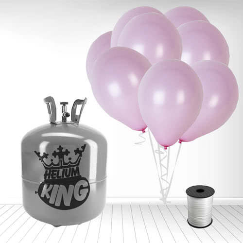 Disposable Helium Gas Cylinder with 50 Pastel Baby Pink Balloons and Curling Ribbon Product Image