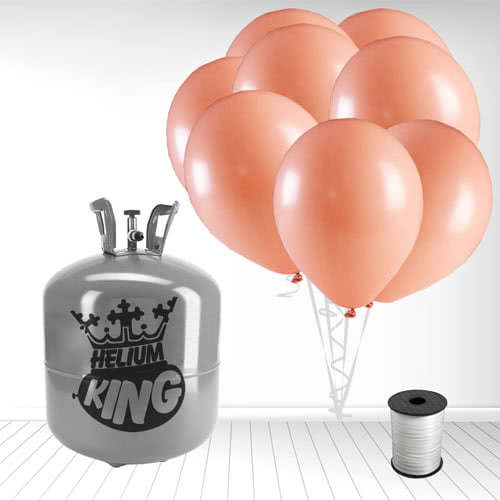 Disposable Helium Gas Cylinder with 50 Pastel Coral Peach Balloons and Curling Ribbon