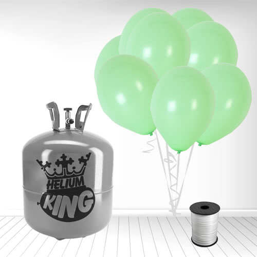 Disposable Helium Gas Cylinder with 50 Pastel Mint Green Balloons and Curling Ribbon Product Image
