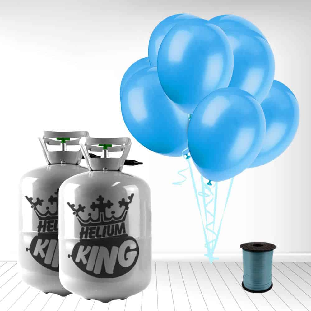 Disposable Helium Gas Cylinder with 60 Baby Blue Balloons and Curling Ribbon Product Image