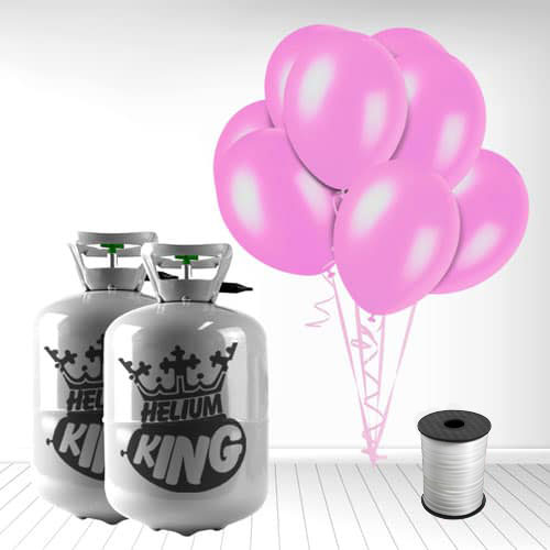 Disposable Helium Gas Cylinder with 60 Crystal Pink Balloons and Curling Ribbon Product Image