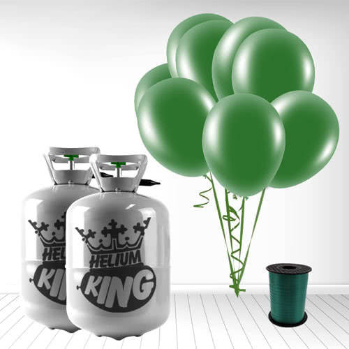 Disposable Helium Gas Cylinder with 60 Forest Green Balloons and Curling Ribbon Product Image