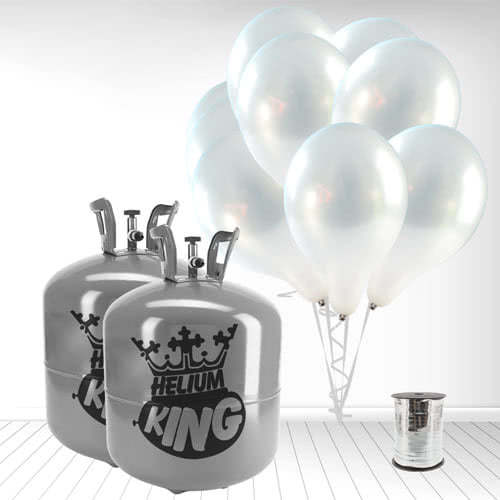 Disposable Helium Gas Cylinders with 100 Metallic Silver Balloons and Curling Ribbon Product Image