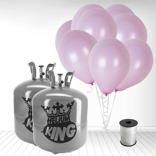 Disposable Helium Gas Cylinders with 100 Pastel Baby Pink Balloons and Curling Ribbon Product Image