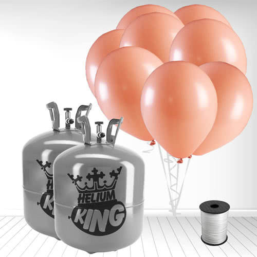 Disposable Helium Gas Cylinders with 100 Pastel Coral Peach Balloons and Curling Ribbon