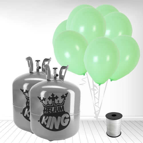 Disposable Helium Gas Cylinders with 100 Pastel Mint Green Balloons and Curling Ribbon Product Image