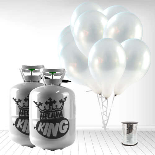 Disposable Helium Gas Cylinders with 60 Metallic Silver Balloons and Curling Ribbon Product Image