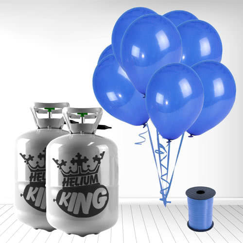 Disposable Helium Gas Cylinders with 60 Navy Blue Balloons and Curling Ribbon Product Image