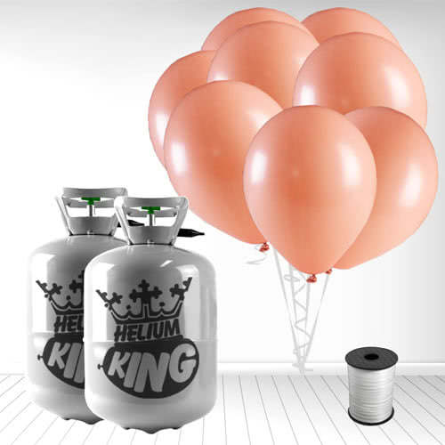 Disposable Helium Gas Cylinders with 60 Pastel Coral Peach Balloons and Curling Ribbon Product Image