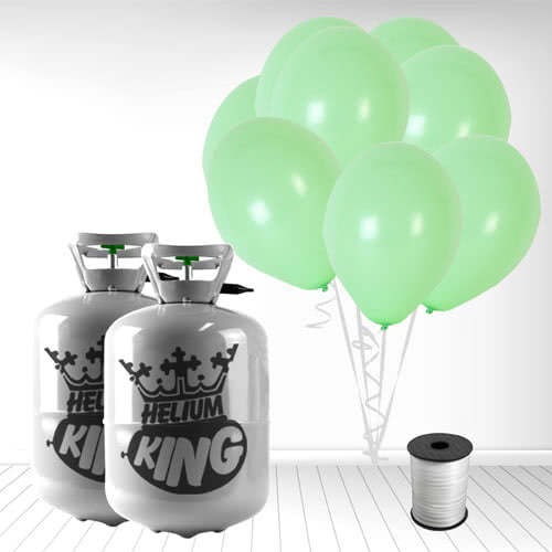 Disposable Helium Gas Cylinders with 60 Pastel Mint Green Balloons and Curling Ribbon Product Image