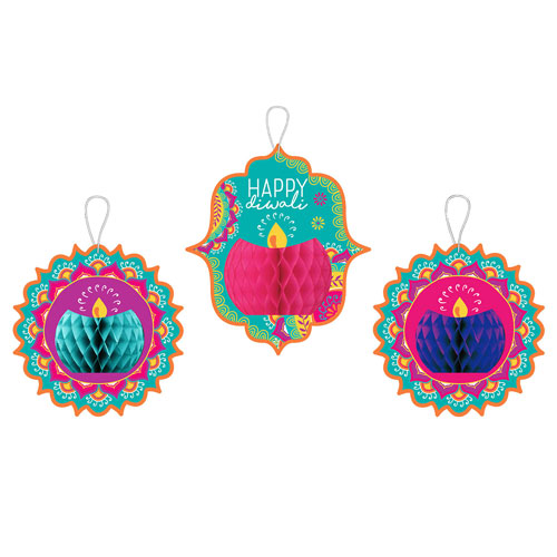 Diwali Honeycomb Hanging Decorations - Pack of 3