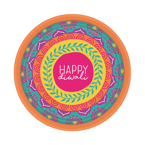 Diwali Round Paper Plates 18cm - Pack of 8 Product Image