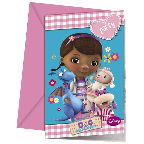 Doc McStuffins Invitations with Envelopes - Pack of 6