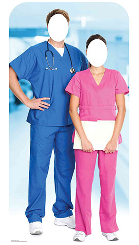 Doctor & Nurse Stand In Lifesize Cardboard Cutout 190cm