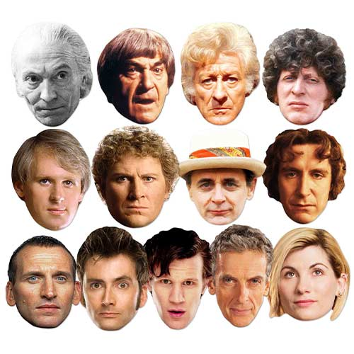 Doctor Who Complete Series All Doctors Cardboard Face Masks - Pack of 13