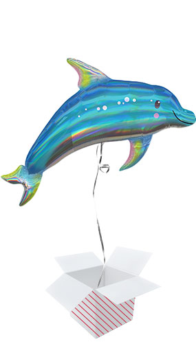 Dolphin Iridescent Helium Foil Giant Balloon - Inflated Balloon in a Box Product Image