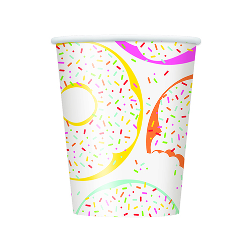 Donut Party Paper Cups 270ml - Pack of 8