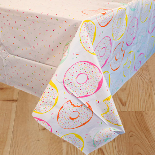 Donut Party Plastic Tablecover 213cm x 137cm