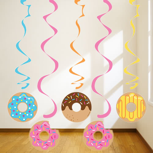 Donut Time Dizzy Danglers Swirl Hanging Decorations - Pack of 5 Product Image