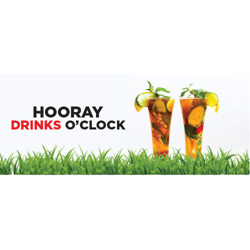 Drinks O'Clock PVC Party Sign Decoration 60cm x 20cm Product Image