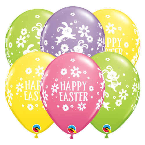 Easter Bunnies & Daisies Assorted Round Latex Helium Qualatex Balloons 28cm / 11 in - Pack of 10