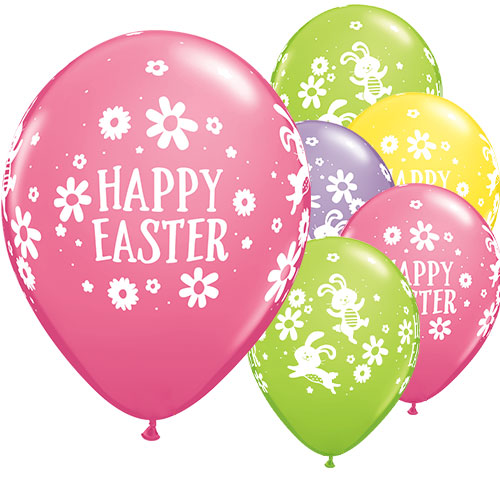Easter Bunnies & Daisies Assorted Round Latex Helium Qualatex Balloons 28cm / 11 in - Pack of 25