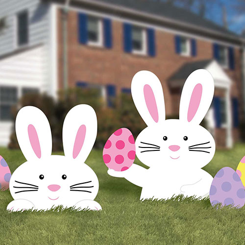 Easter Bunny Corrugated Garden Signs Lawn Decorations - Pack of 5