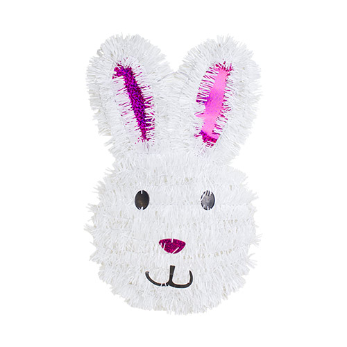 Easter Bunny Tinsel Wall Plaque Hanging Decoration 30cm