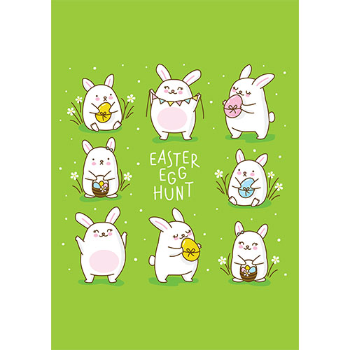 Easter Egg Hunt Chibi Bunnies A2 Poster PVC Party Sign Decoration 59cm x 42cm Product Gallery Image