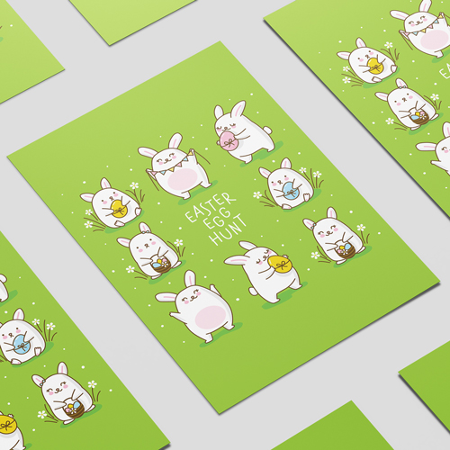 Easter Egg Hunt Chibi Bunnies A2 Poster PVC Party Sign Decoration 59cm x 42cm Product Image